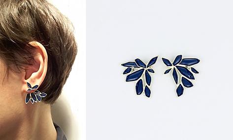 2in1 earrings in gold and blue enamel 2016