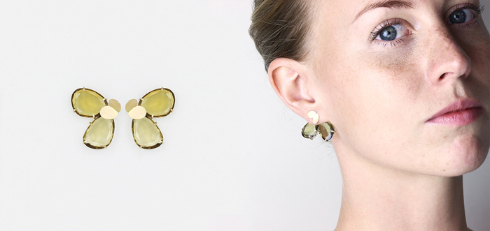 2in1 earring in citrines and yellow gold 2016