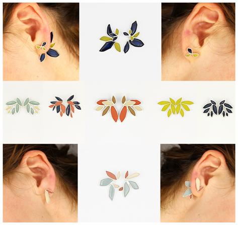 2in1 earrings in silver and enamel paint 2015
