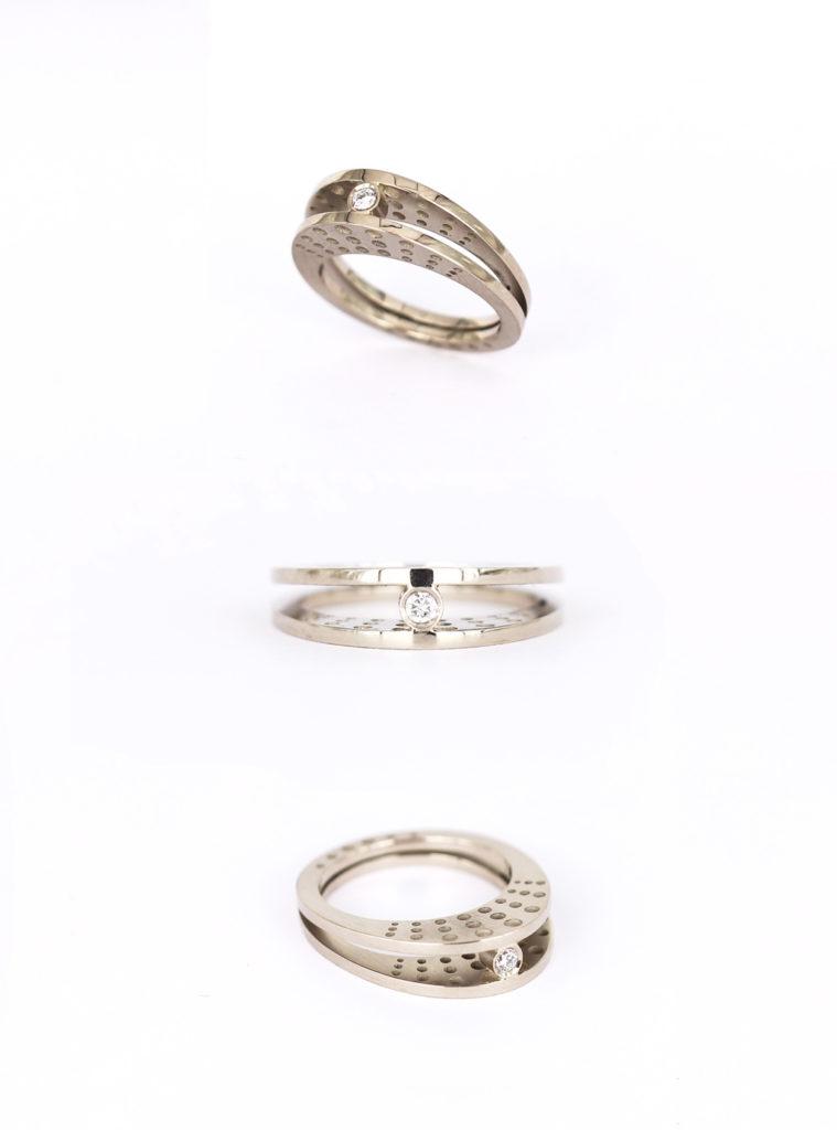Engagement ring in 14K white gold, diamond   2016