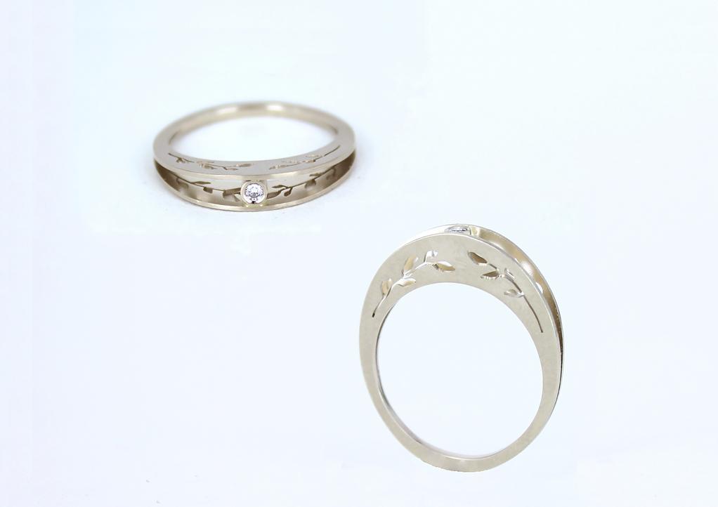 Engagement ring in white gold 14K, diamond | 2014