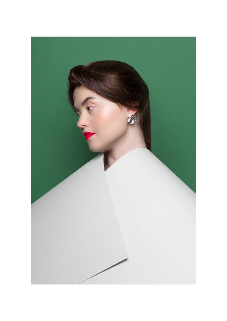 2in1 earrings in silver and enamelpaint